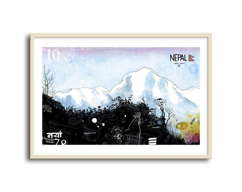 Dibujo en tinta y acuarela sobre papel con unas vistas de los Anapurnas desde Pune Hill. Ilustraciones de Nepal.