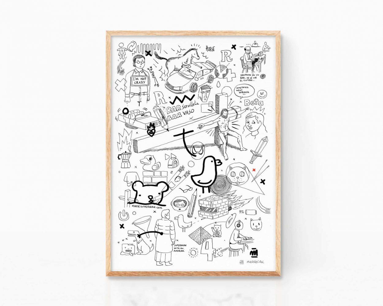 Lámina con un dibujo punk compuesto de fragmentos de miguel noguera y otros ilustradores. Arte urbano, stencil