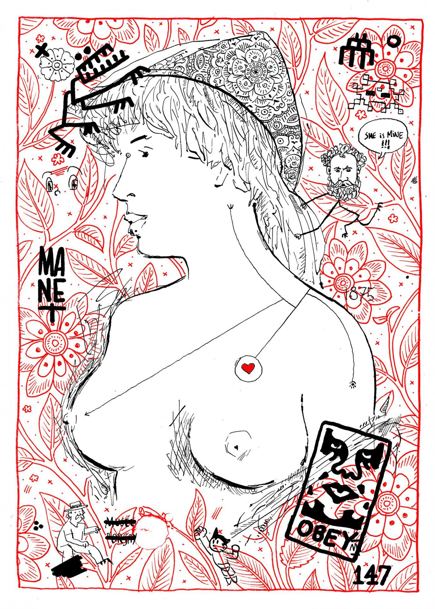 Remezcla (mashup) de la pintura del artista Manet la rubia de los senos desnudos. Obey y varios mamarrachitos más. Dibujo, ilustración, art remixes. Arte Urbano