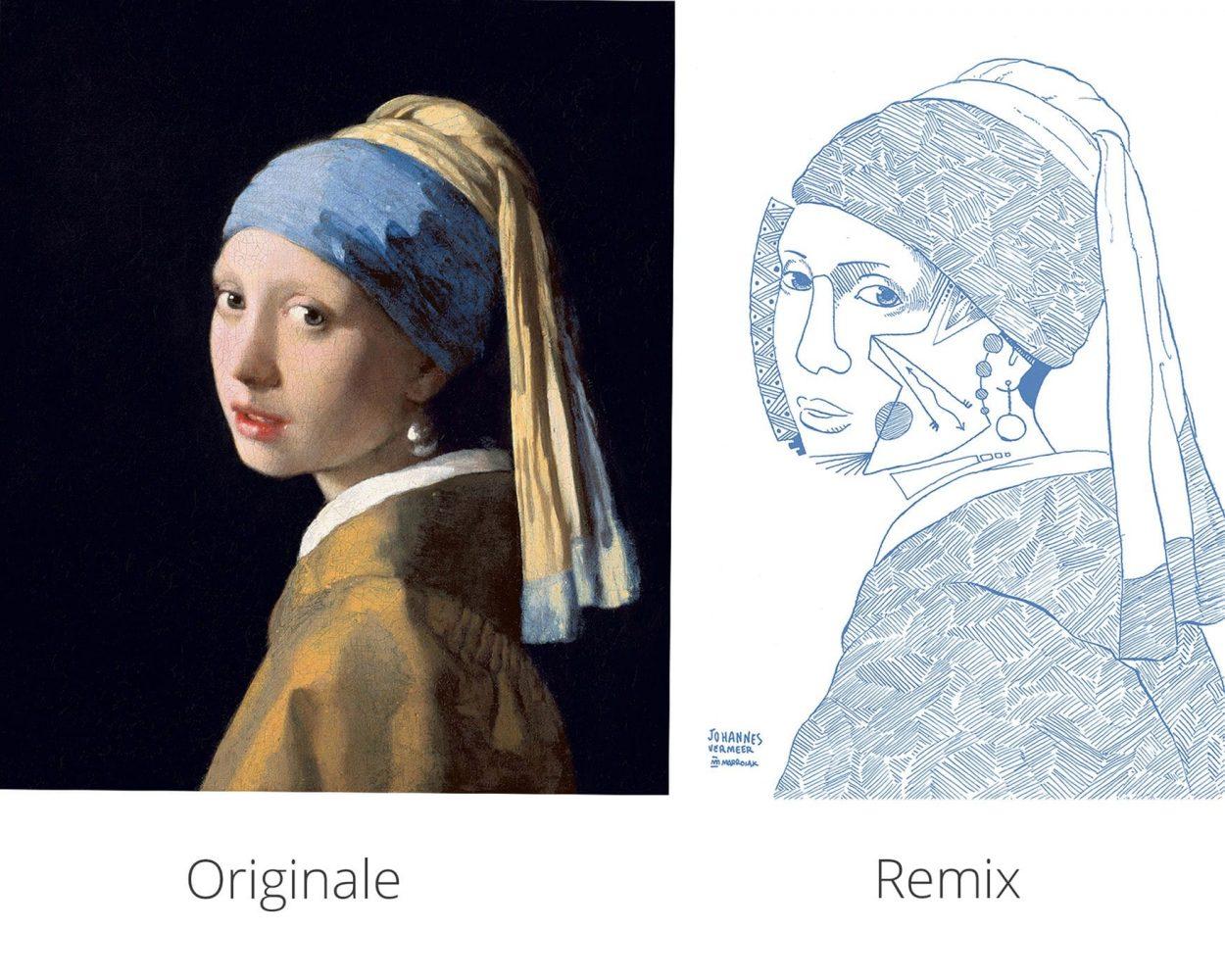 Comparación original y remix dibujos de la joven de la perla de Johannes Vermeer