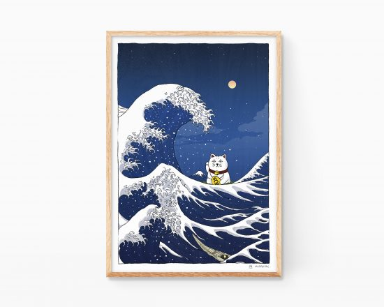 Illustration art mashup: The lucky cat vs the great wave off kanagawa (Night Remix). Japanese pop art drawing versions