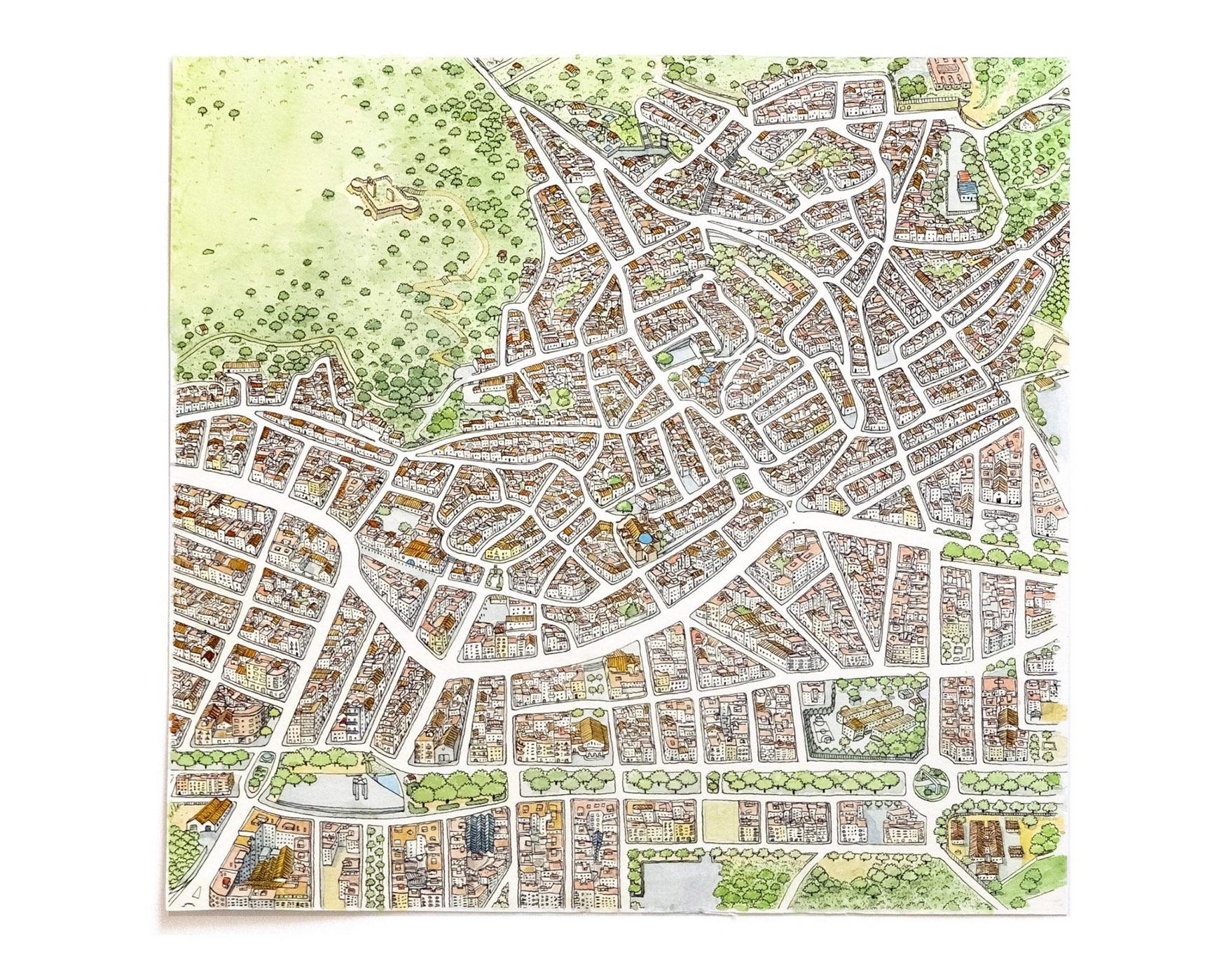 Dibujo original del mapa del centro histórico del municipio de Oliva, en La Safor (Valencia). Ilustración turística