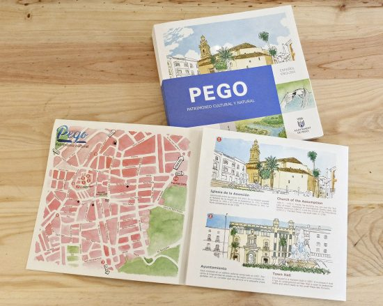 Folleto desplegado con el diseño de un mapa del Parque Natural de la Marjal Pego Oliva al sur de Valencia. La Safor