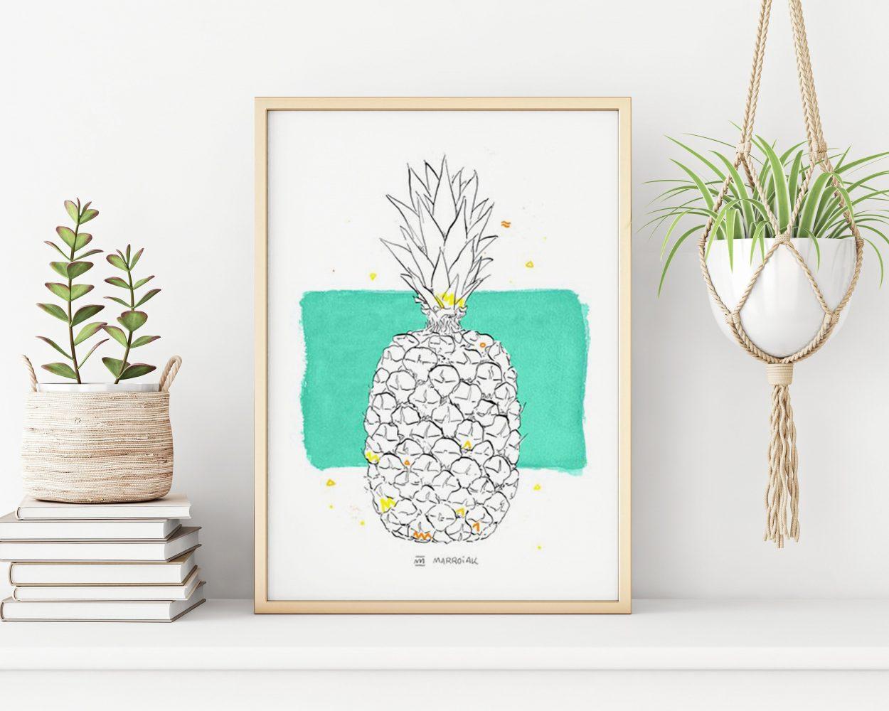 Lámina con un dibujo de una piña. Ilustraciones de frutas de verano. Acuarela y tinta.