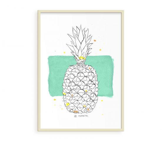 Lámina con el dibujo en acuarela de una piña. Ilustraciones de frutas. Verde y amarillo.