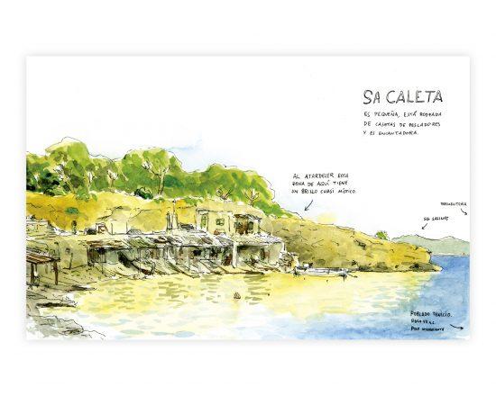 Ilustración en acuarela y tinta sobre papel de la playa de Sa Caleta en el municipio de Sant Jose de Sa Talaia, Ibiza. Islas Baleares (España)