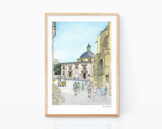 Print sheet with an illustration of the Plaza de la Virgen in the Carmen neighborhood of Valencia. Valencian drawings. online sale