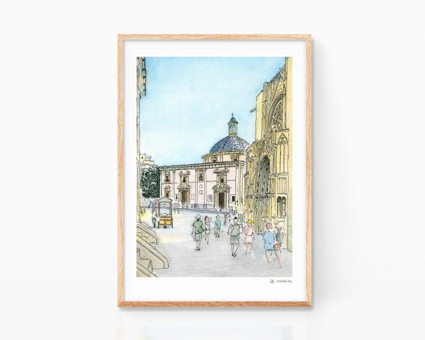 Lámina print con una ilustración de la plaza de la virgen en el barrio del carmen de valencia. Dibujos Comunidad Valenciana. Venta online