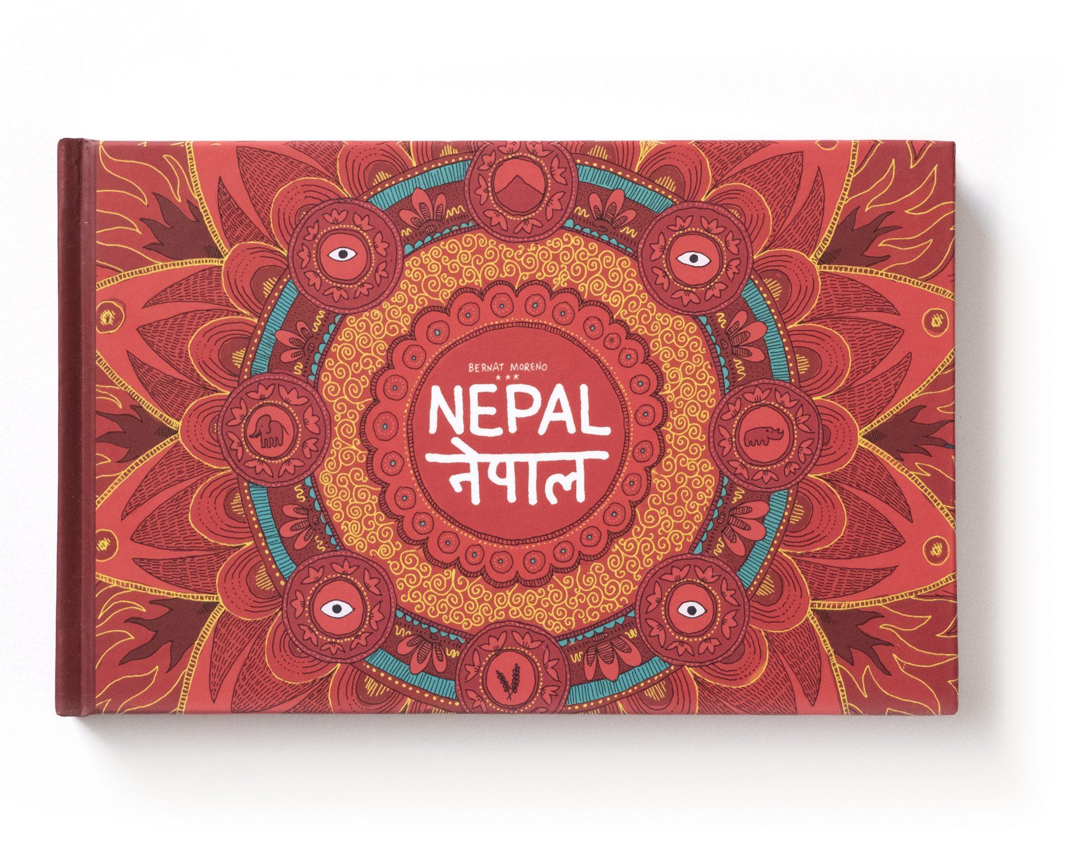 Portada del cuaderno de viaje de nepal. Ilustraciones en acuarela estilo urban sketchers