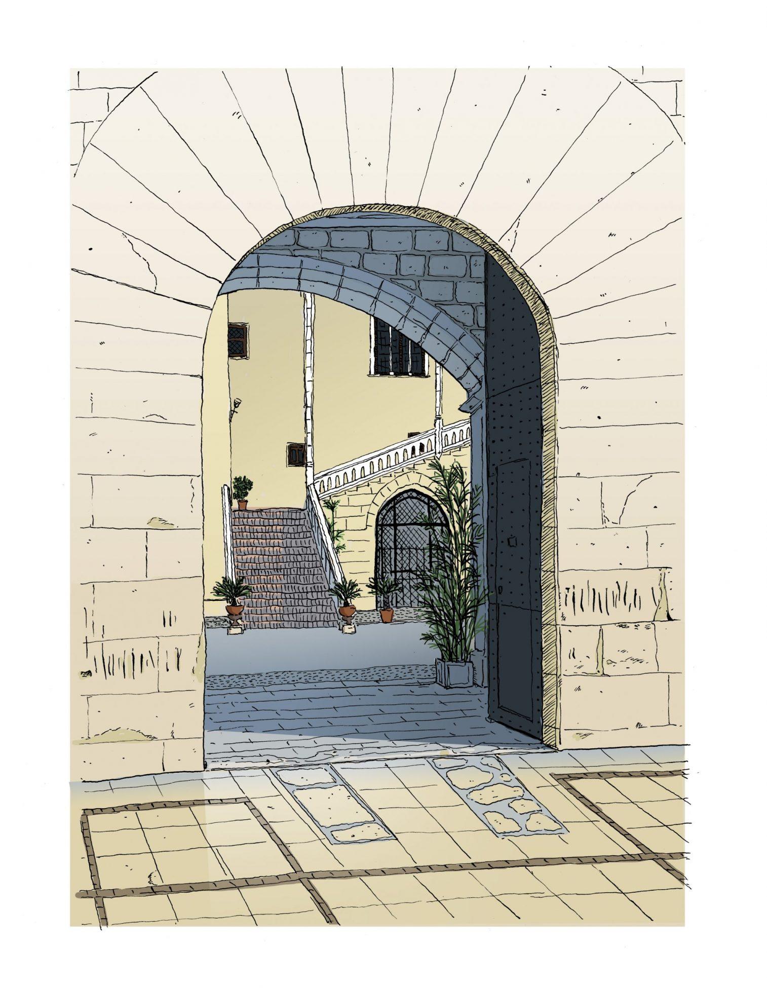 Lámina impresa con un dibujo de la puerta del Palacio Ducal de Gandía, Valencia ilustrada. La Safor. Ilustración de arquitectura valenciana