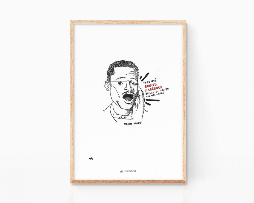 Lámina con dibujo de un retrato del musico cubano Benny More. Ilustración en blanco y negro. Grunge, punk art