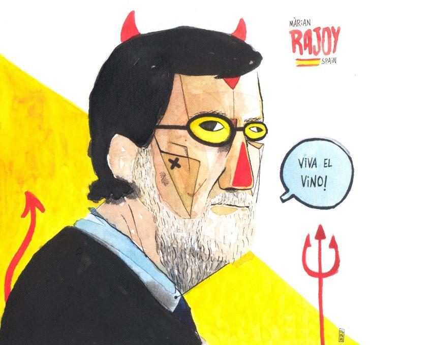 Dibujo con un retrato del expresidente de España Mariano Rajoy Brey. Viva el vino