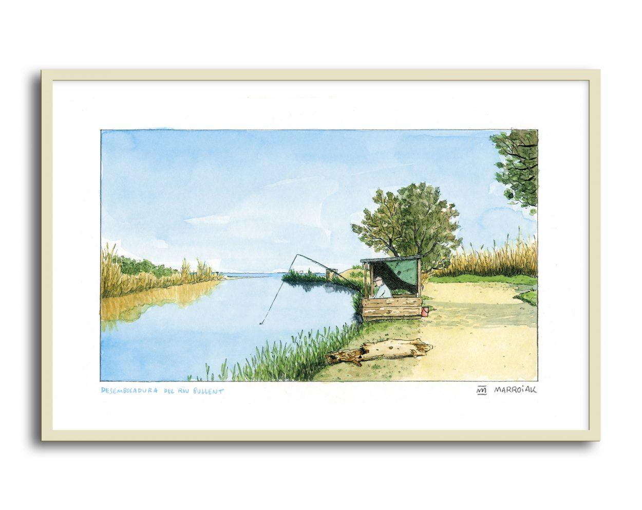 Lámina con una ilustración de la desembocadura del Riu Bullent de Oliva. En la imagen aparece un pescador. Acuarela y tinta sobre papel. Paisaje, urban sketchers, pintura.