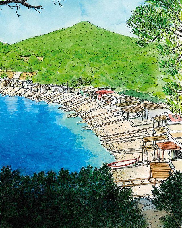 Dibujo en acuarela de la playa de Sa Caleta en la isla de Ibiza. Islas Baleares, España