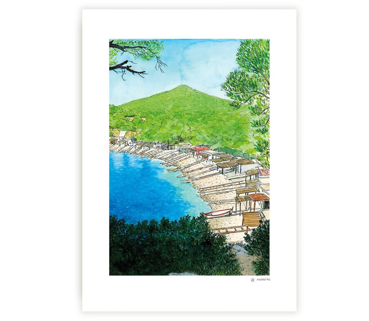 Art print with a watercolor of the island of Ibiza. Sa Caleta beach. Mediterranean illustrations collection. Formentera and Baleares. Handmade drawings