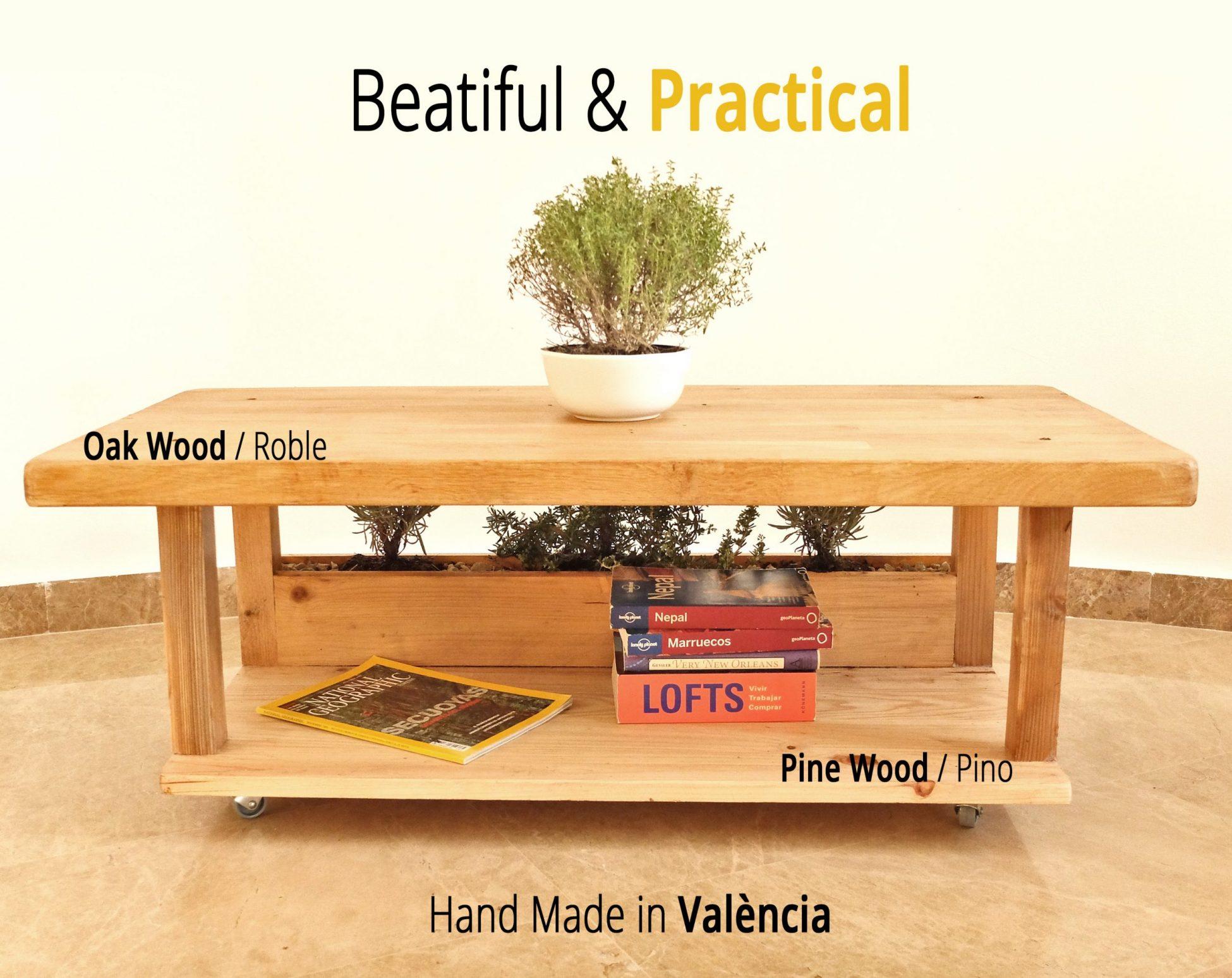 Mesa de centro madera con macetero