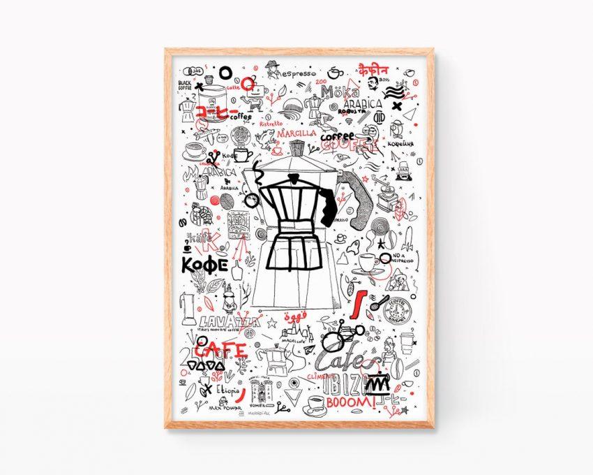 Obra gráfica original serigrafía artesanal con un dibujo de una cafetera y distintos mamarrachos sobre la cultura del café. Ilustración en blanco y negro y rojo.