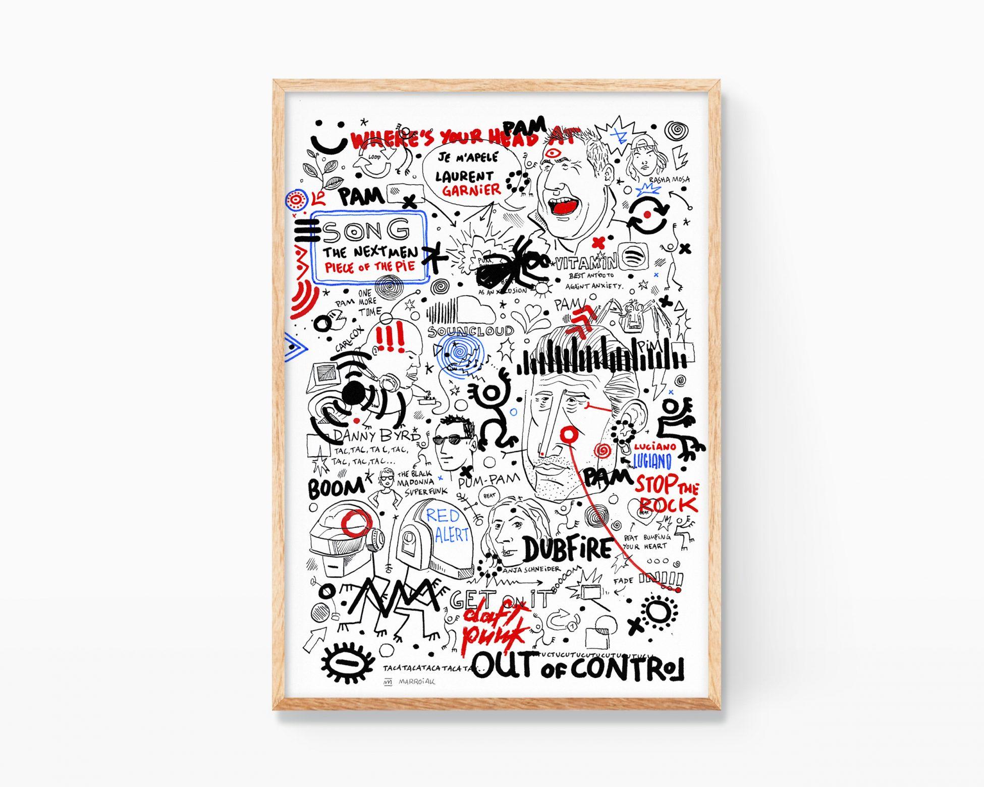 Obra gráfica original para comprar online. Ilustración música electrónica: chemical brothers, daft punk, laurent garnier, etc...