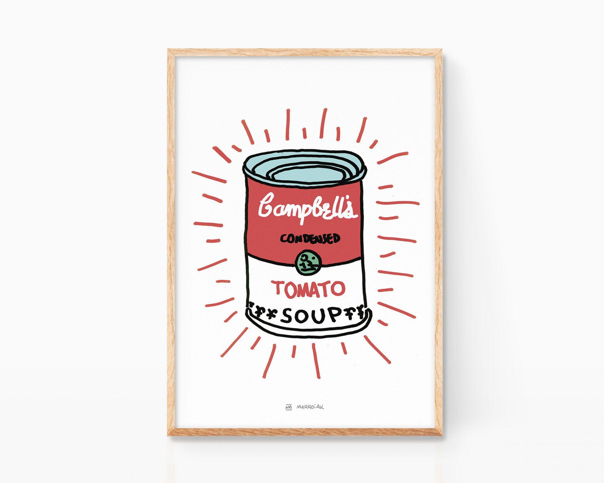 Cuadro para enmarcar con un dibujo minimalista de las sopas campbells popularizadas por el artista Andy Warhol. Estilo Keith Haring. Decoración para cocinas, restaurantes y casas modernas. Arte urbano