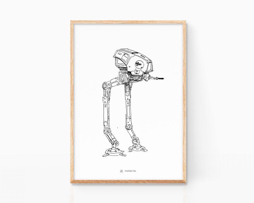 Cuadro decorativo con una ilustración de star wars con el vehículo de combate at-dp. Ilustración en blanco y negro. Print a la venta online