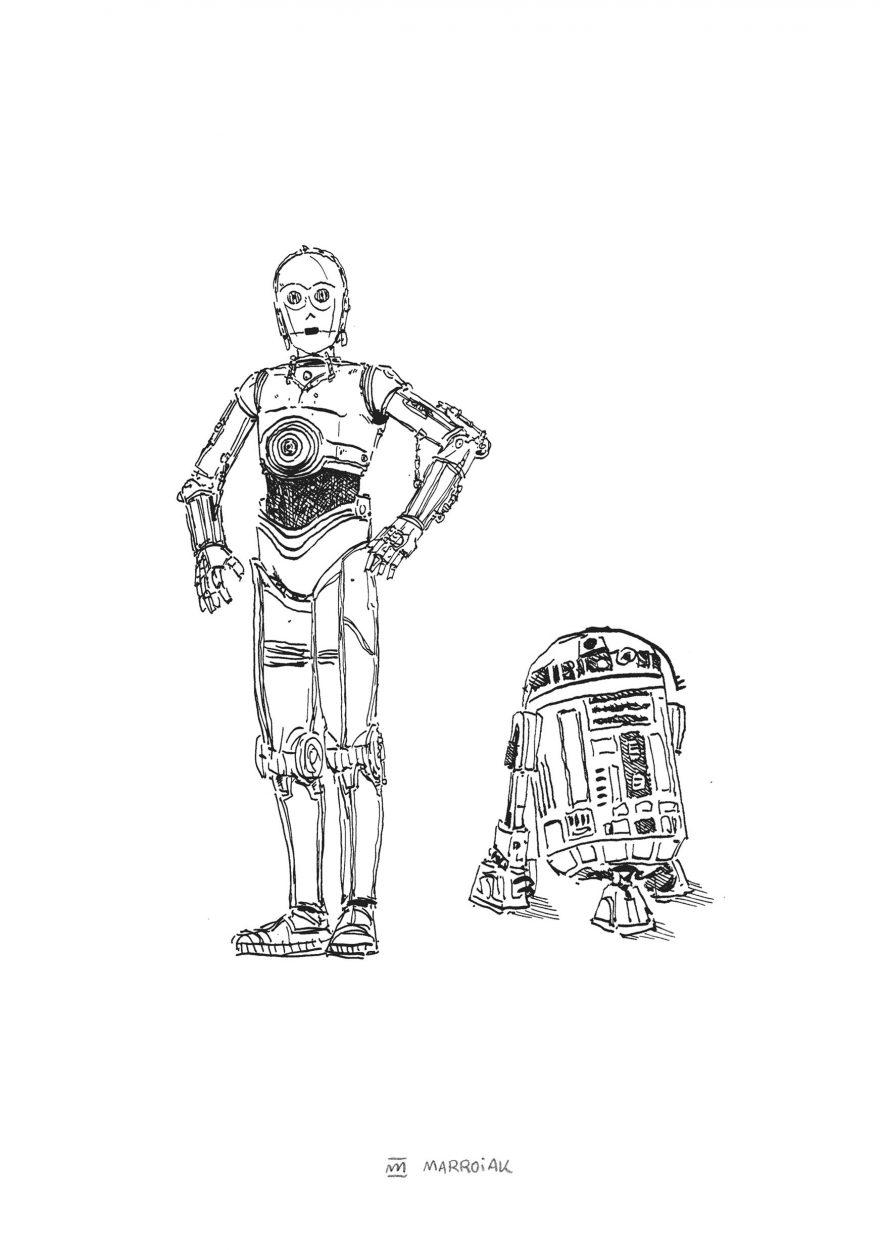 Ilustración en blanco y negro de los personajes de star wars c3po y r2d2. Dibujos robots. Lámina