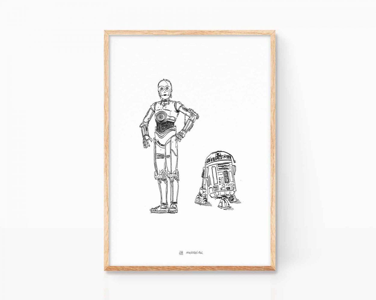 Lámina Print con una ilustración de Star Wars - c3po y r2d2. Decoración minimalista. Dibujos para frikis.