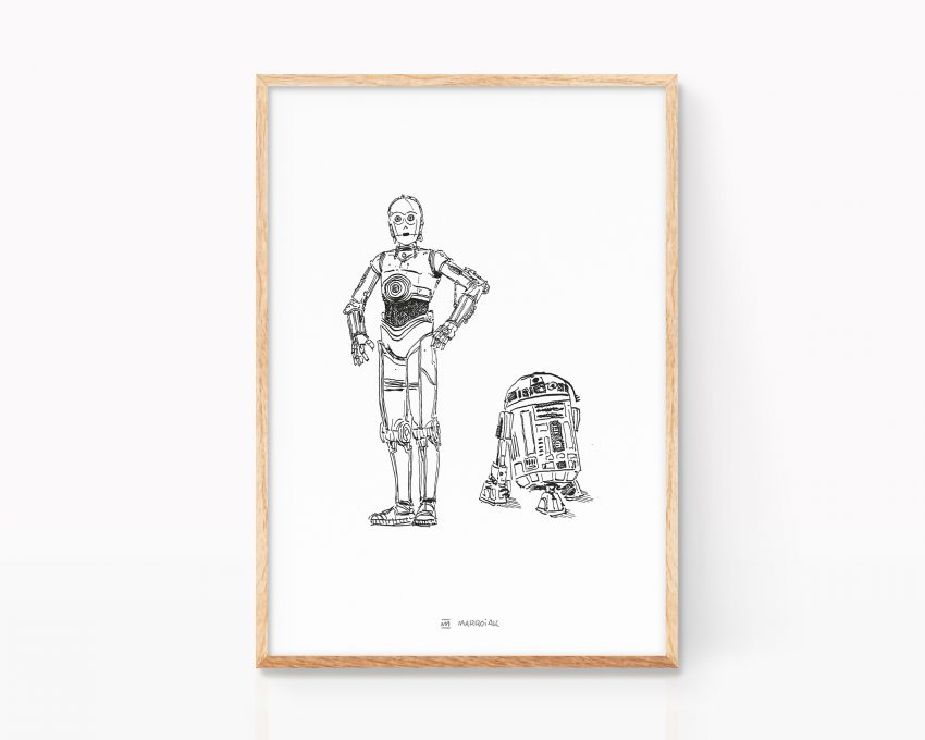 Lámina para enmarcar con una ilustración de Star Wars - c3po y r2d2. Decoración minimalista y nórdica. Dibujos para frikis de la guerra de las galaxias.