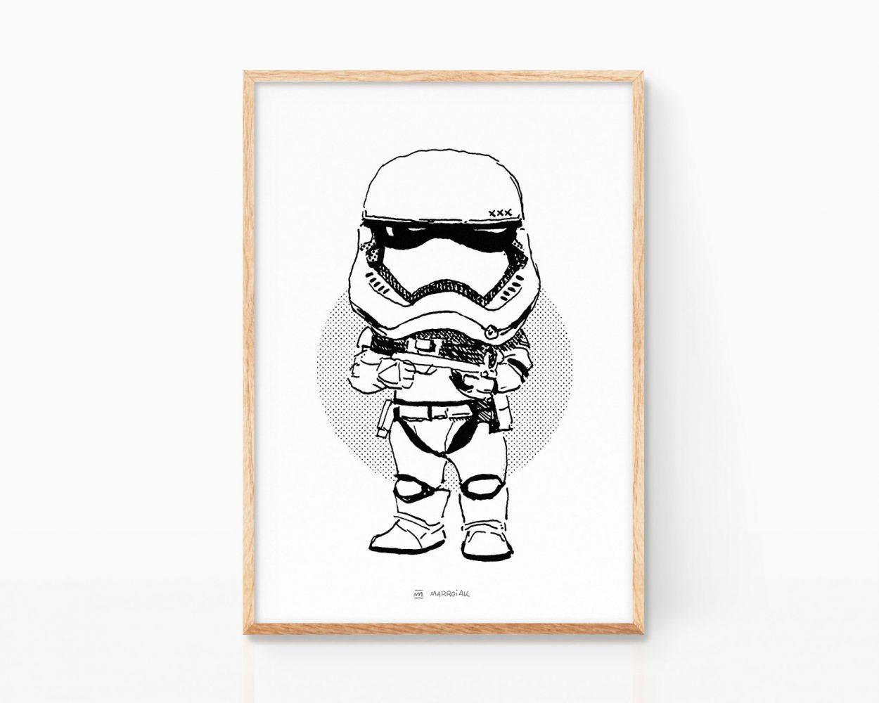 Lámina enmarcada con una ilustración de un Stormtrooper de la saga de películas Star Wars. Dibujo en blanco y negro. Decoración geek Guerra de las galaxias.