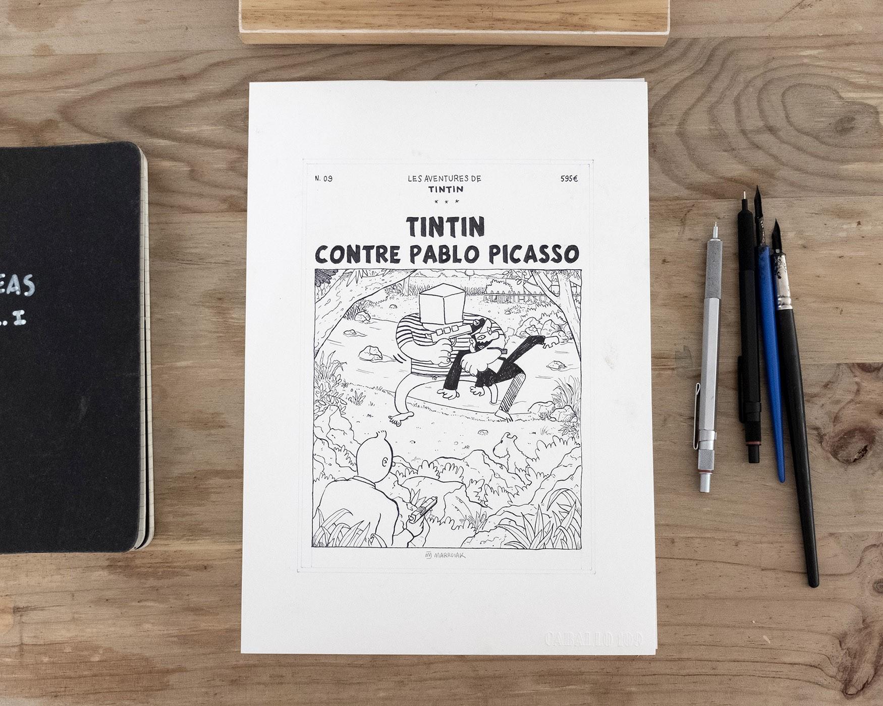 Dibujo original de una comic pastiche de Tintin contra Pablo Picasso. Ilustración en tinta sobre papel. Blanco y negro. Boceto
