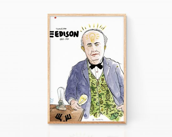 Poster painting with a portrait in watercolor on paper of Thomas Edison. Science illustrations