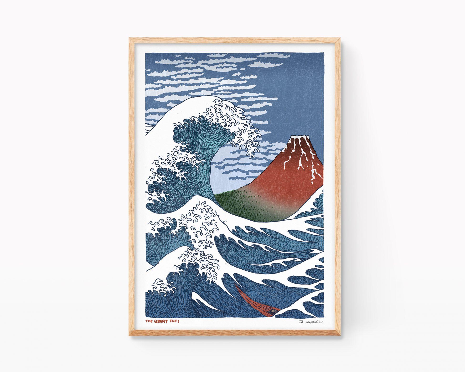 Lámina dibujo con una estampa japonesa ukiyo-e con un mashup de las obras La gran Ola y el Fuji rojo de Katsushika Hokusai. Cuadros decorativos para enmarcar