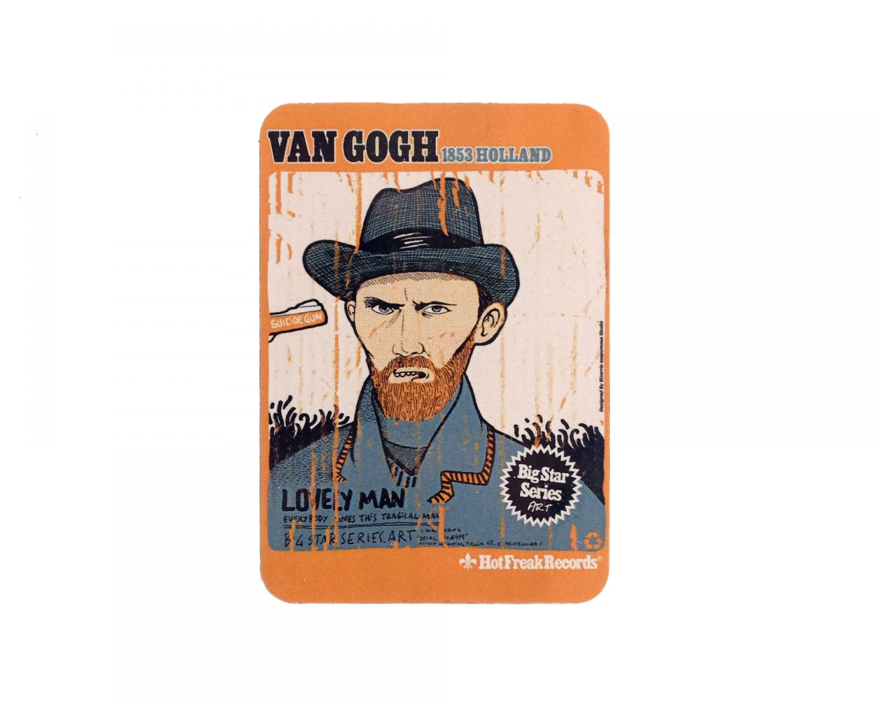 Magnet with an illustrated Portrait of the artist Van Gogh. Art Drawing. Remix illustration