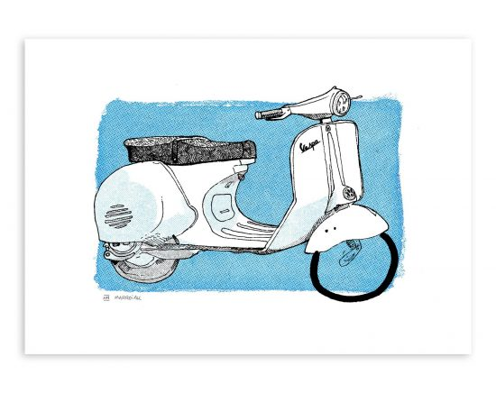 Illustración de una scooter vespa, moto antigua italiana. Decoración para casas y restaurantes