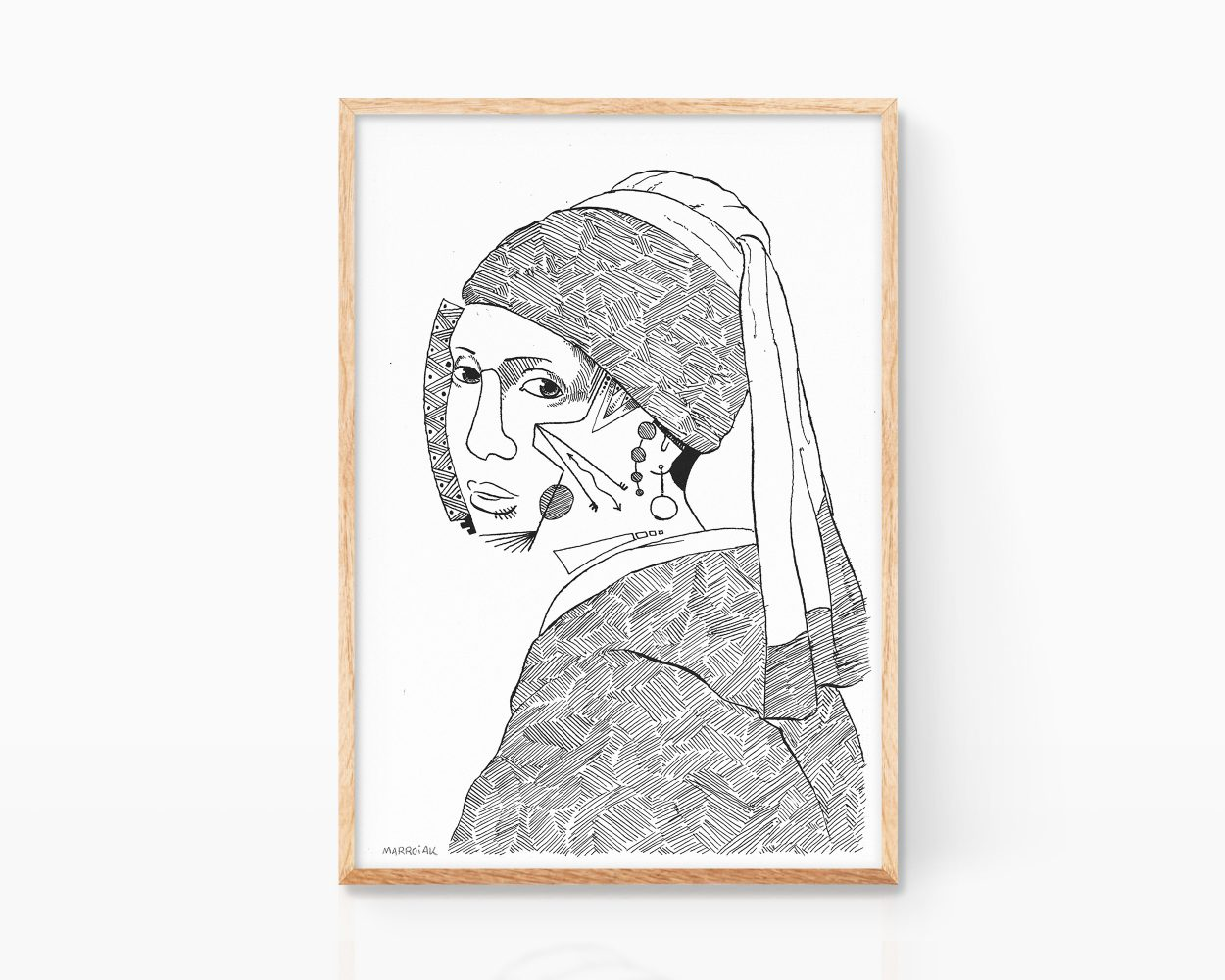 Print drawing The Girl with a Pearl Earring Johannes Vermeer. Art Remixes black and white drawing