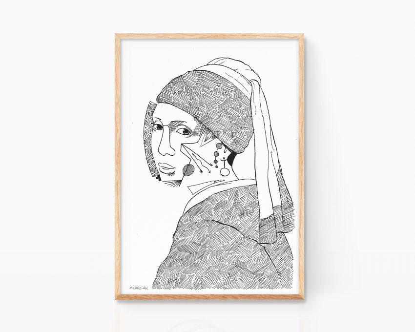 Lámina cuadro dibujo La joven de la perla Johannes Vermeer. Art Remixes dibujo blanco y negro