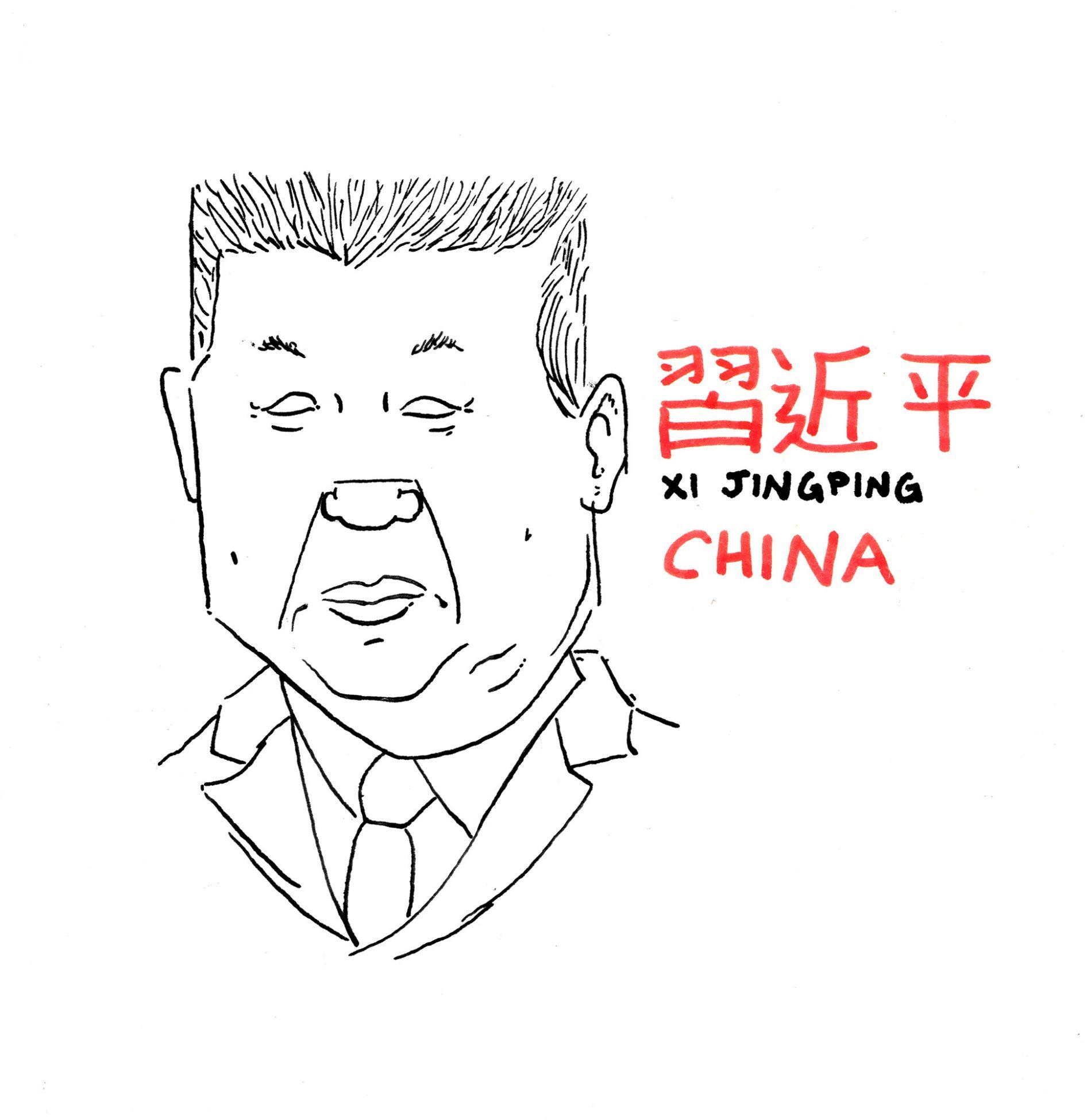 Retrato del mandatario chino xi jinping en blanco y negro y rojo. tinta sobre papel